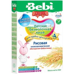 """Bebi Premium каша """"Рисовая"""" низкоаллергенная, с 4 месяцев"""