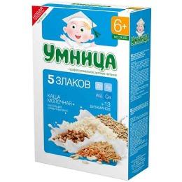 """Умница каша молочная """"5 злаков"""" с 6 месяцев"""