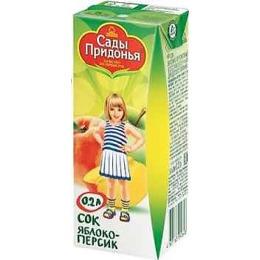 """Сады Придонья сок """"Яблоко и персик"""" с мякотью, с 5 месяцев"""