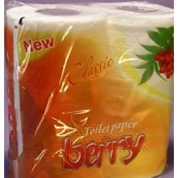 """Berry туалетная бумага 2-слойная """"Персик"""" на перфорированной втулке"""