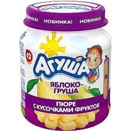 """Агуша пюре """"Яблоко и груша"""" с кусочками фруктов"""