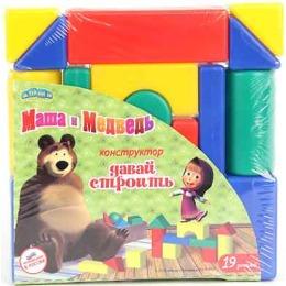 """Маша и медведь конструктор """"Давай строить"""", 40х40 мм, 19 деталей"""