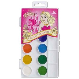 Princessa краски акварельные, медовые, 12 цветов