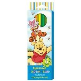 """Disney карандаши цветные """"Винни"""" толстые, трехгранные, 6 цветов"""