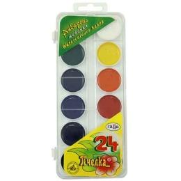 """Гамма краски акварельные """"Пчелка"""", 24 цвета"""