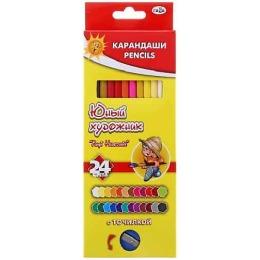 """Гамма карандаши цветные """"Юный художник"""" с точилкой, 24 цвета"""