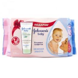"""Johnson`s baby влажные салфетки """"Нежная забота"""", 64 шт + крем для новорожденных"""