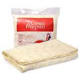 """7 Перин одеяло облегченное """"Листья"""" бежевый, шерсть овечья. 172х 205 см"""