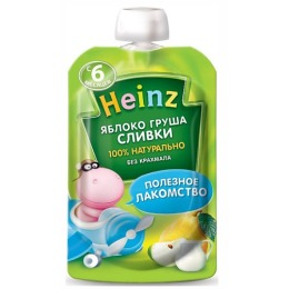 "Heinz пюре ""Яблоко груша сливки"" пауч, с 6 месяцев"