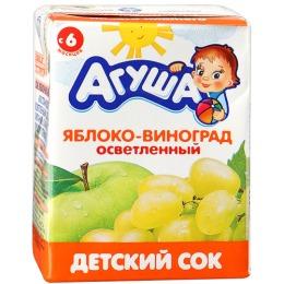 """Агуша сок """"Яблоко-виноград"""" осветленный, с 6 месяцев"""