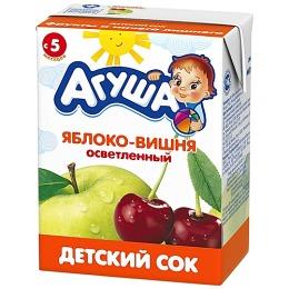 """Агуша сок """"Яблоко-вишня"""" осветленный, с 5 месяцев"""