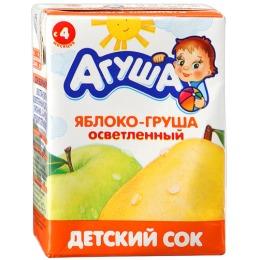 """Агуша сок """"Яблоко-груша"""" осветленный, с 4 месяцев"""