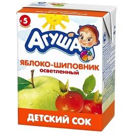 """Агуша сок """"Яблоко-шиповник"""" осветленный, с 5 месяцев"""