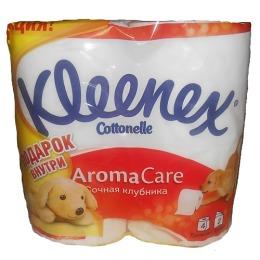"""Kleenex туалетная бумага """"Сочная Клубника"""" трехслойная, 4 шт + щенок"""