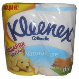 """Kleenex туалетная бумага """"Natural care"""" трехслойная, белая 4 шт + щенок"""