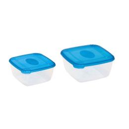 """Plast Team набор емкостей для хранения продуктов """"Рattern"""" квадратных 2 шт"""