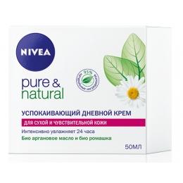 """Nivea успокаивающий дневной крем """"Pure&Natural"""" для сухой и чувствительной кожи, 50 мл"""