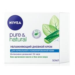 """Nivea увлажняющий дневной крем """"Pure&Natural"""" для нормальной и комбинированной кожи, 50 мл"""