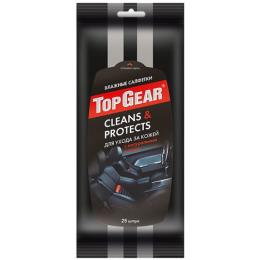 "Top Gear влажные салфетки ""Clean&Protects"" для ухода за кожей"