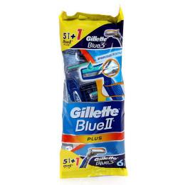 "Gillette cтанки одноразовые ""Blue II Plus"" 5 шт + станок одноразовый ""Blue 3"""
