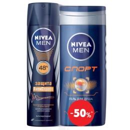 "Nivea дезодорант ""Защита Антистресс"" спрей, 150 мл + гель для душа ""Спорт"" для тела и волос, 250 мл"