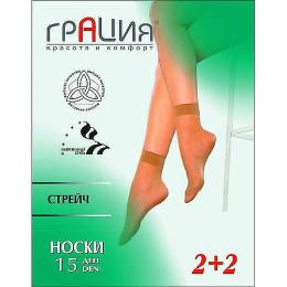 Грация носки 15 стрейч, телесные, без размера