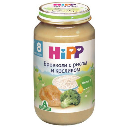 """Hipp пюре """"Брокколи с рисом и кроликом"""" с 8 месяцев, 220 г"""