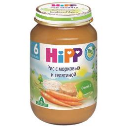 """Hipp пюре """"Рис с морковью и телятиной"""" с 6 месяцев, 190 г"""