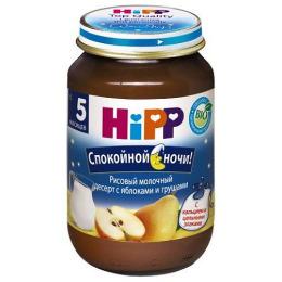"""Hipp пюре """"Спокойной Ночи. Рисовый десерт с яблоками и грушами"""" с 5 месяцев, 190 г"""