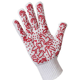 Хозяюшка Мила перчатки для садовых работ трикотажные с дизайн напылением ПВХ,  красные, 1 шт