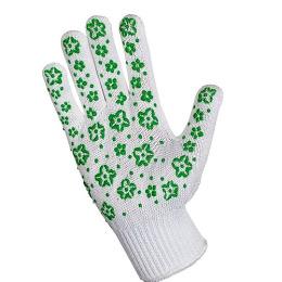 Хозяюшка Мила перчатки для садовых работ трикотажные с дизайн напылением ПВХ, зеленые, 1 шт