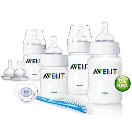 Avent набор для новорожденных  бутылочки + пустышка + щеточка