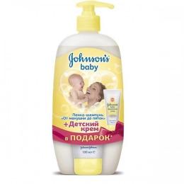 "Johnson`s baby пенка-шампунь ""От макушки до пяток"" 500 мл + крем под подгузник 50 мл"