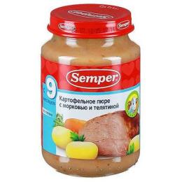 Semper пюре для детей картофель с морковью и телятиной