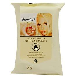 Premial салфетки влажные для интимной гигиены с молочной кислотой, 20 шт