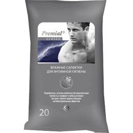 Premial салфетки влажные для интимной гигиены мужские, 20 шт