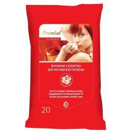Premial салфетки влажные для интимной гигиены женские, 20 шт