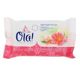 """Ola салфетки влажные """"Цветущий персик"""" очищающие для интимной гигиены, 15 шт"""