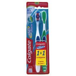 """Colgate зубная щетка """"360 Суперчистота всей полости рта"""", средняя жесткость, 1 + 1"""