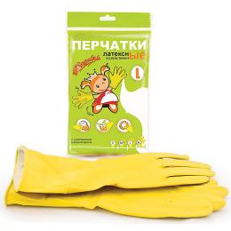 Золушка перчатки хозяйственные латексные L желтые, с хлопковым напылением