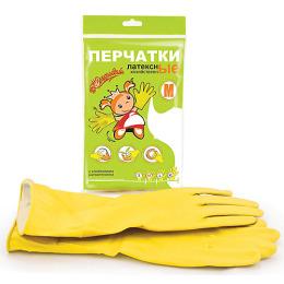 Золушка перчатки хозяйственные латексные M желтые, с хлопковым напылением