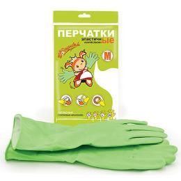 Золушка перчатки хозяйственные эластичные M зеленые, латексные с хлопковым напылением