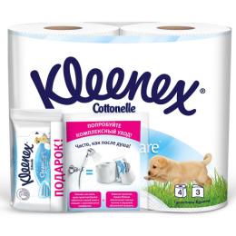 """Kleenex туалетная бумага """"Natural care"""" трехслойная, белая, 4 шт + туалетная бумага влажная"""