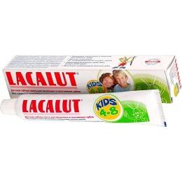 Lacalut зубная паста для молочных и постоянных зубов с аминофлюоридом и освежающим мятным вкусом, 4-8 лет, 50 мл