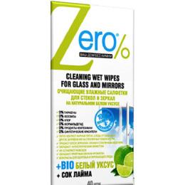 Zero салфетки влажные  для стекол и зеркал, 40 шт
