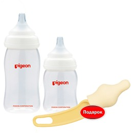 Pigeon набор 2 бутылочки p.plus 160мл 240мл pp + щеточка для мытья сосок