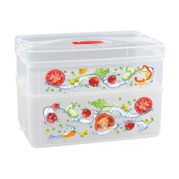 """Бытпласт контейнер для продуктов с клапаном и декором """"Smart system"""" 2 секции"""