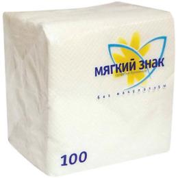 Мягкий знак салфетки бумажные 1-слойные, 100 шт