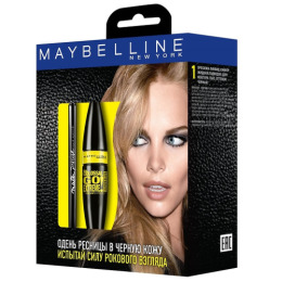 "Maybelline набор тушь для ресниц ""Colossal Go Extreme"" тон Leather Black, экстрачерный, 9.5 мл + лайнер ""Master Precise"" черный, 1.1 мл"
