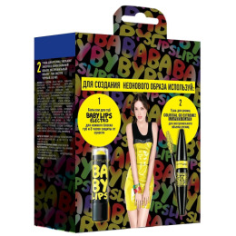 "Maybelline набор тушь для ресниц ""Colossal Go Extreme"", тон Leather Black экстрачерная, 9.5 мл + бальзам для губ ""Baby Lips. Electro"", Лимонный поцелуй, 1.78 мл"
